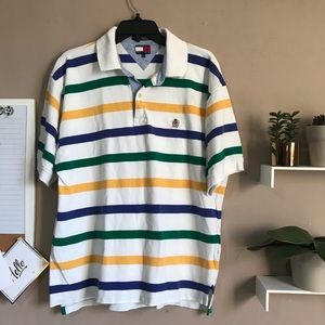 VTG Tommy Hilfiger Mens Polo Shirt Stripe Rugby